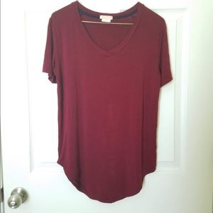 Red Burgundy Maroon Jersey Tee T-Shirt V Neck